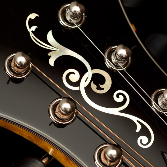 Mandolin Peghead with Ornate Flourish Inlay