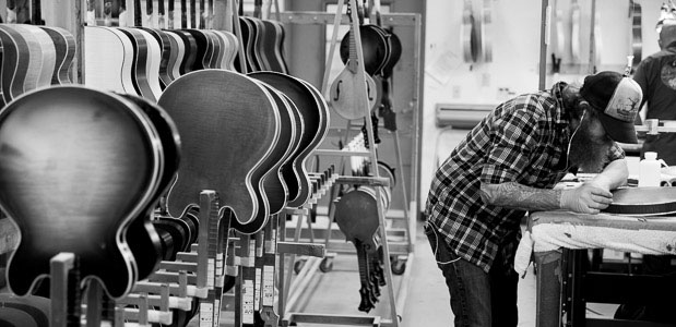 Collings Luthiers Finishing Guitars